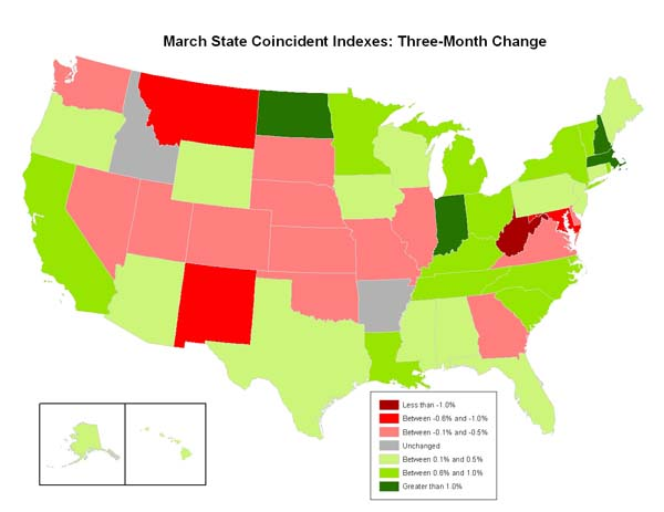 Philly Fed State Coincident Map March 2010